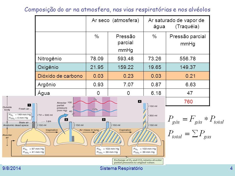 Composição do ar na atmosfera, nas vias respiratórias e nos alvéolos