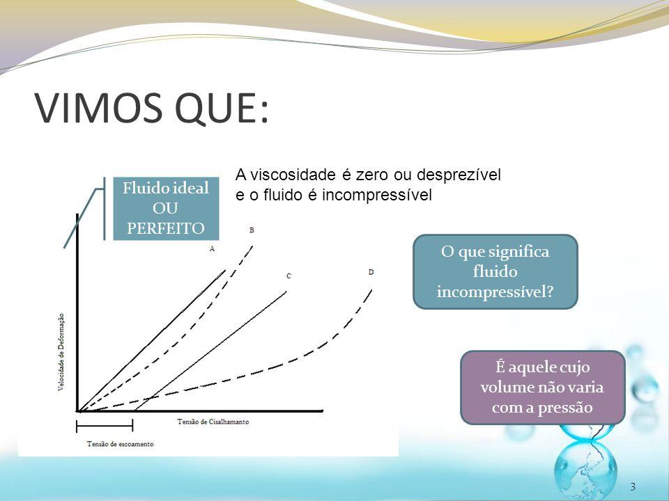 VIMOS QUE: A viscosidade é zero ou desprezível e o fluido é incompressível. Fluido ideal OU PERFEITO.