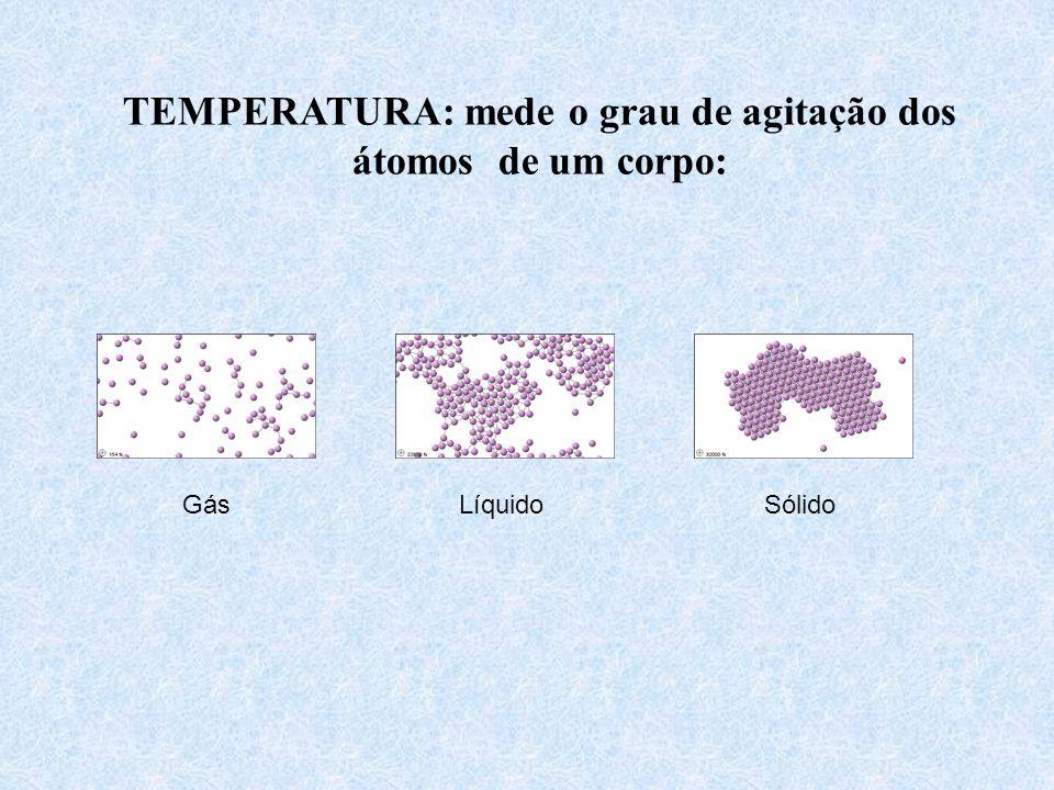 TEMPERATURA: mede o grau de agitação dos átomos de um corpo: