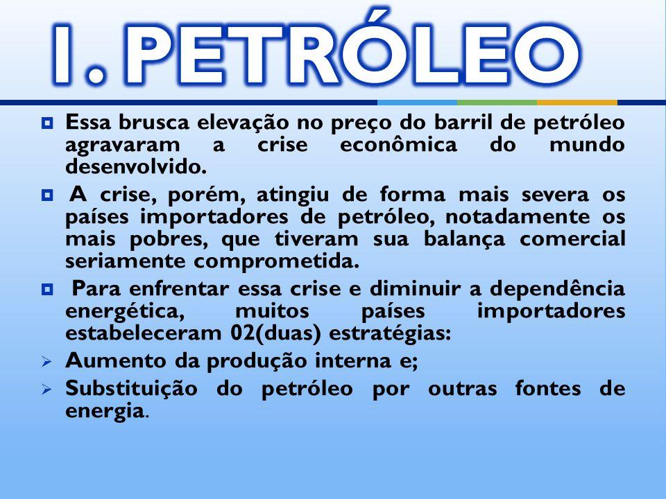 1. PETRÓLEO Essa brusca elevação no preço do barril de petróleo agravaram a crise econômica do mundo desenvolvido.