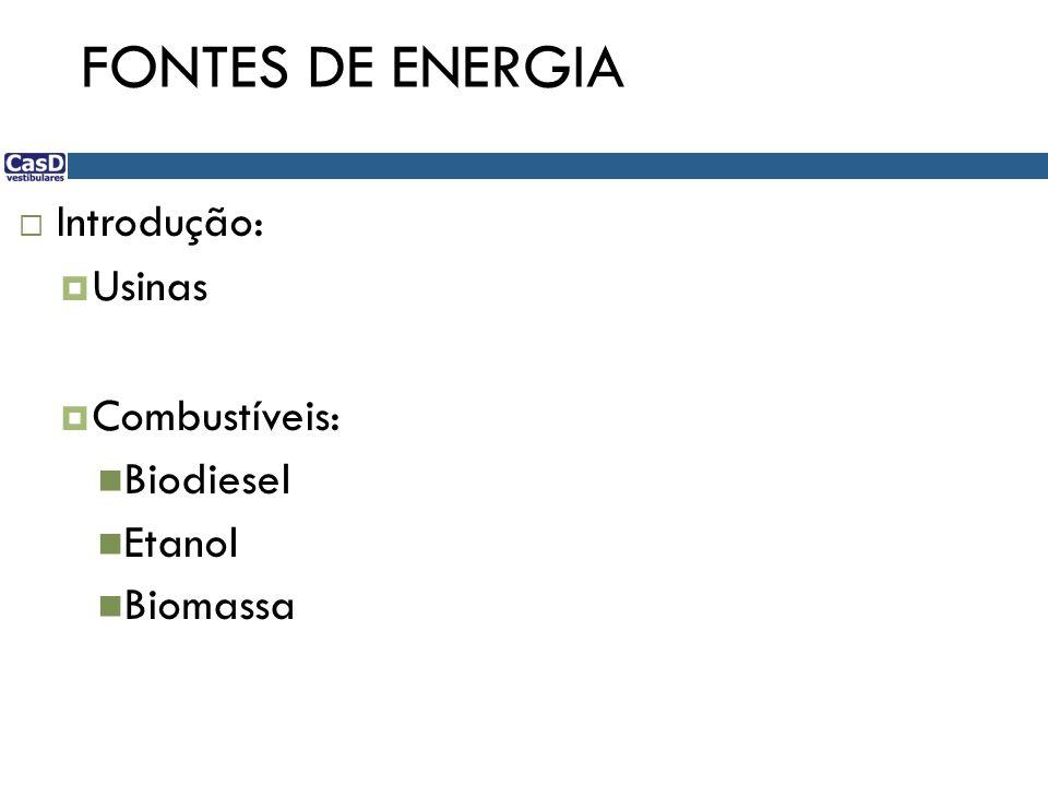 FONTES DE ENERGIA Introdução: Usinas Combustíveis: Biodiesel Etanol