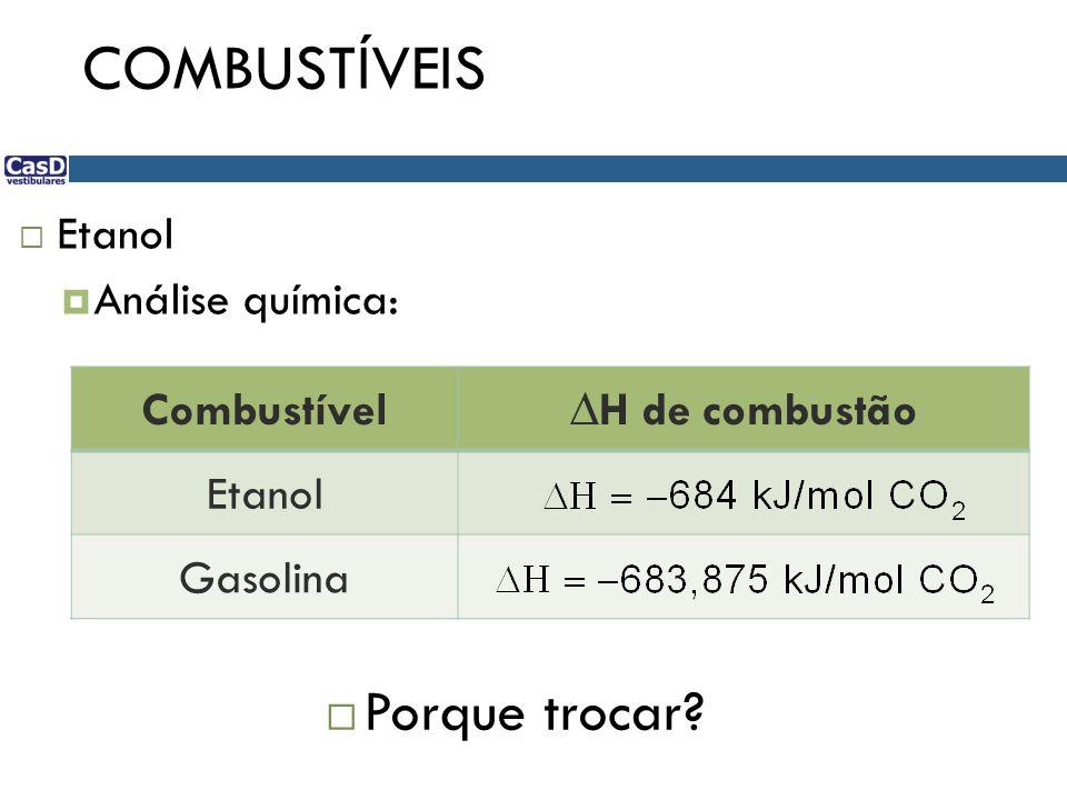 COMBUSTÍVEIS Porque trocar Etanol Análise química: Combustível