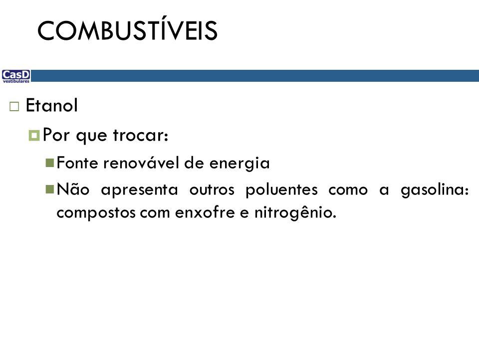 COMBUSTÍVEIS Etanol Por que trocar: Fonte renovável de energia