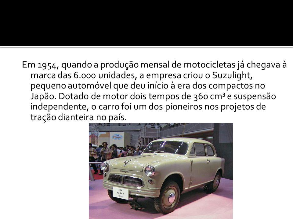 Em 1954, quando a produção mensal de motocicletas já chegava à marca das 6.000 unidades, a empresa criou o Suzulight, pequeno automóvel que deu início à era dos compactos no Japão.