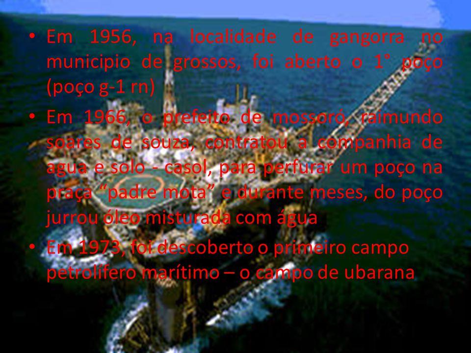 Em 1956, na localidade de gangorra no municipio de grossos, foi aberto o 1° poço (poço g-1 rn)