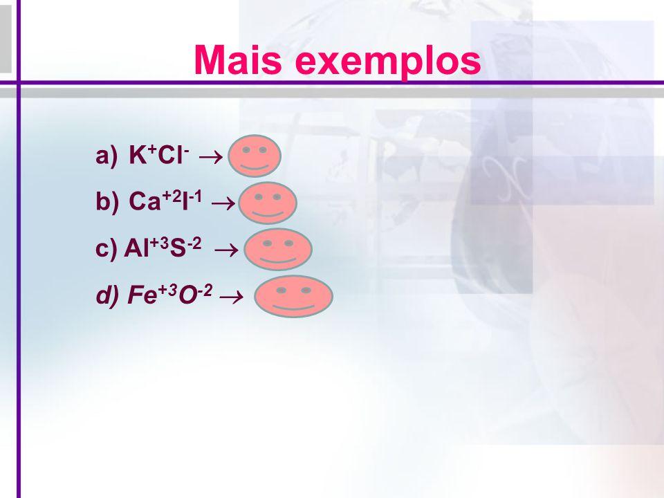 Mais exemplos K+Cl-  KCl Ca+2I-1  CaI2 c) Al+3S-2  Al2S3
