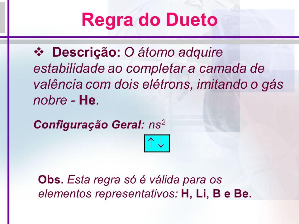 Regra do Dueto Descrição: O átomo adquire estabilidade ao completar a camada de valência com dois elétrons, imitando o gás nobre - He.