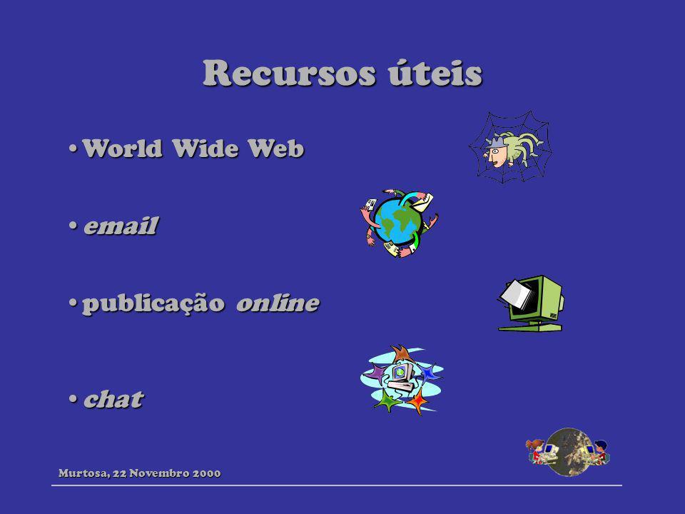 Recursos úteis World Wide Web email publicação online chat