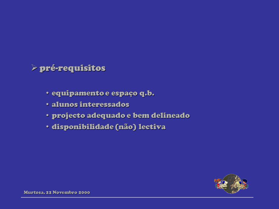 pré-requisitos equipamento e espaço q.b. alunos interessados