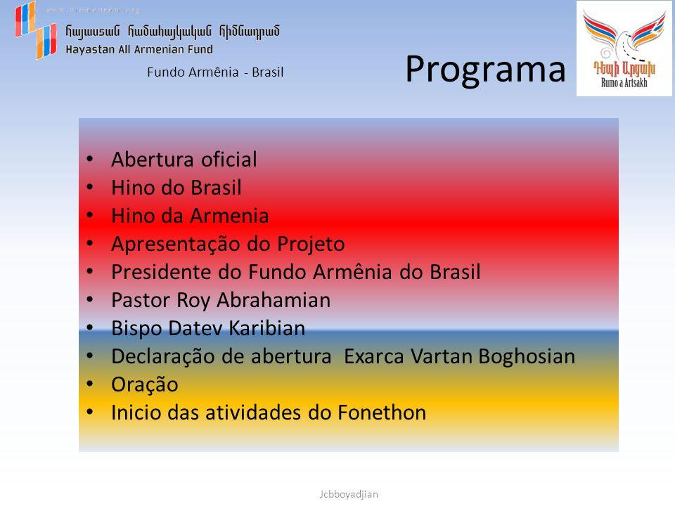 Programa Abertura oficial Hino do Brasil Hino da Armenia
