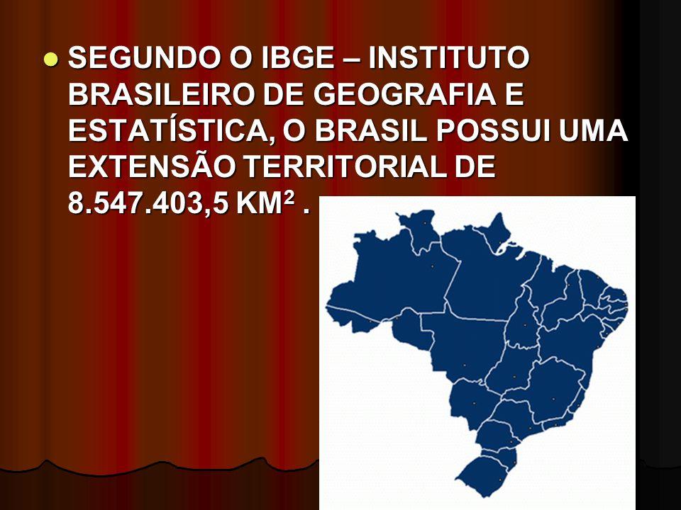 SEGUNDO O IBGE – INSTITUTO BRASILEIRO DE GEOGRAFIA E ESTATÍSTICA, O BRASIL POSSUI UMA EXTENSÃO TERRITORIAL DE 8.547.403,5 KM2 .
