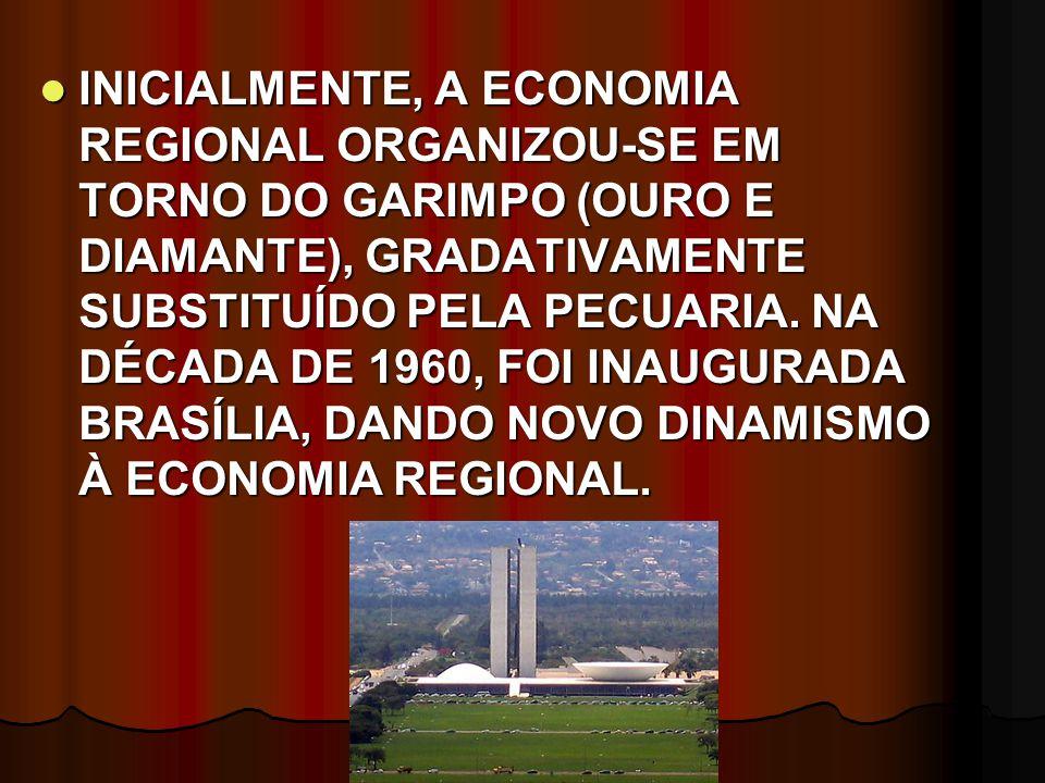 INICIALMENTE, A ECONOMIA REGIONAL ORGANIZOU-SE EM TORNO DO GARIMPO (OURO E DIAMANTE), GRADATIVAMENTE SUBSTITUÍDO PELA PECUARIA.