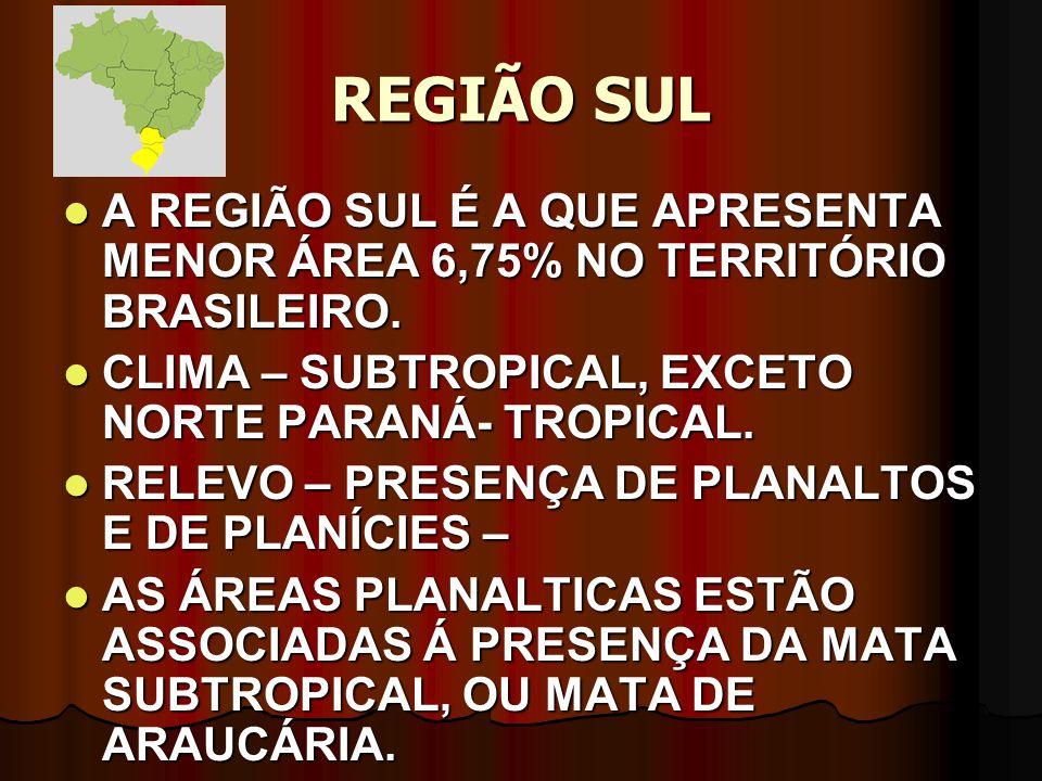 REGIÃO SUL A REGIÃO SUL É A QUE APRESENTA MENOR ÁREA 6,75% NO TERRITÓRIO BRASILEIRO. CLIMA – SUBTROPICAL, EXCETO NORTE PARANÁ- TROPICAL.