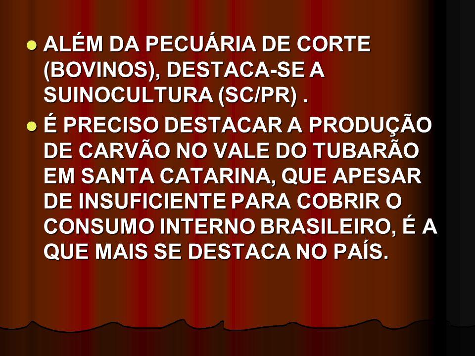 ALÉM DA PECUÁRIA DE CORTE (BOVINOS), DESTACA-SE A SUINOCULTURA (SC/PR) .