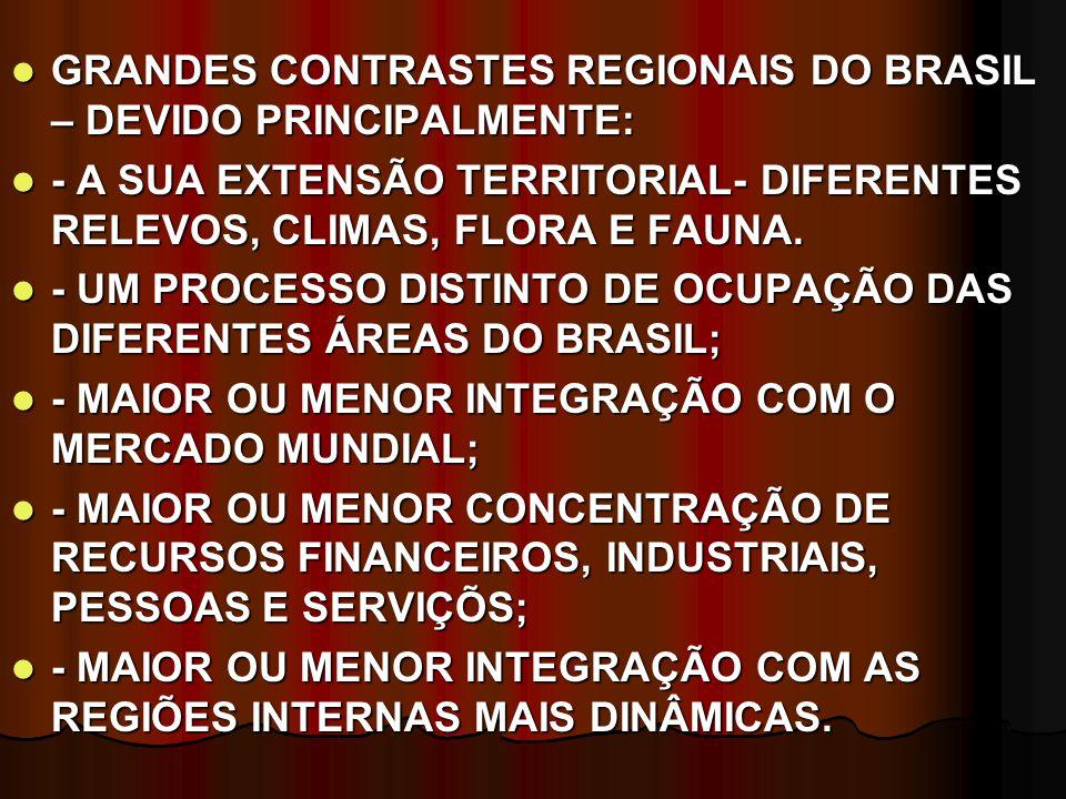 GRANDES CONTRASTES REGIONAIS DO BRASIL – DEVIDO PRINCIPALMENTE: