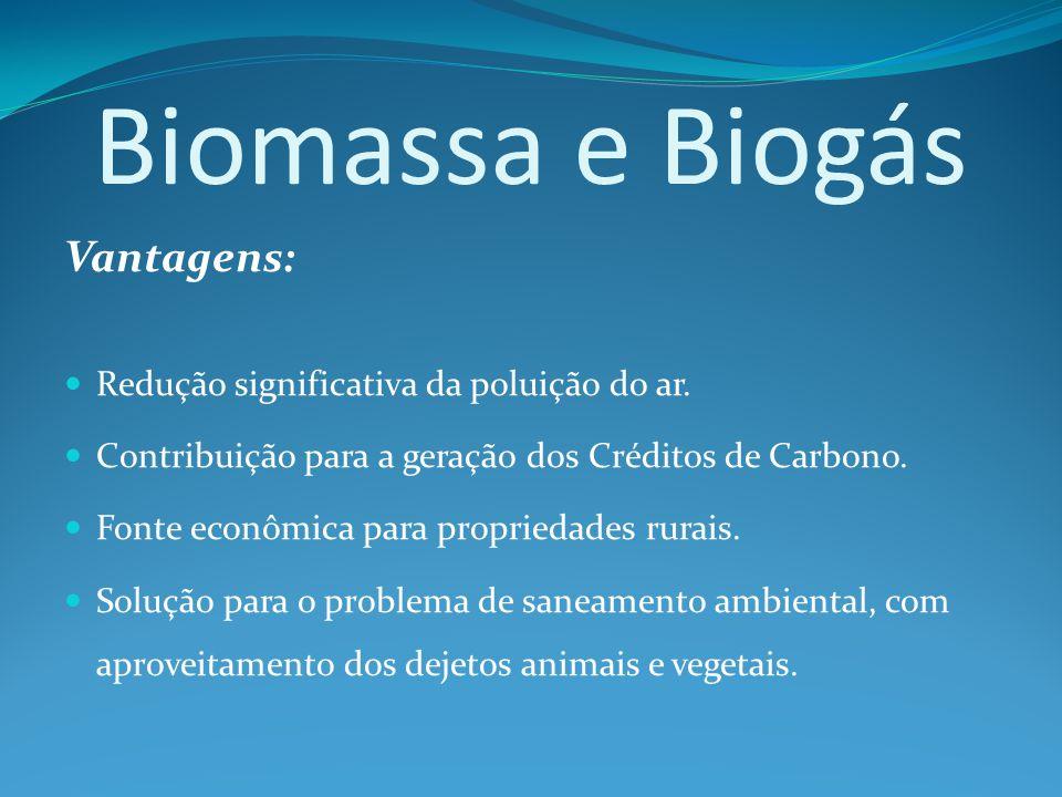 Biomassa e Biogás Vantagens: Redução significativa da poluição do ar.