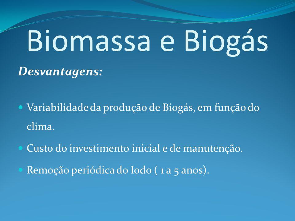Biomassa e Biogás Desvantagens: