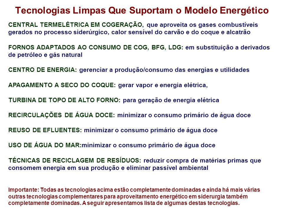 Tecnologias Limpas Que Suportam o Modelo Energético