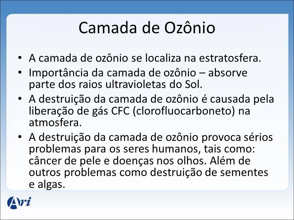 Camada de Ozônio A camada de ozônio se localiza na estratosfera.