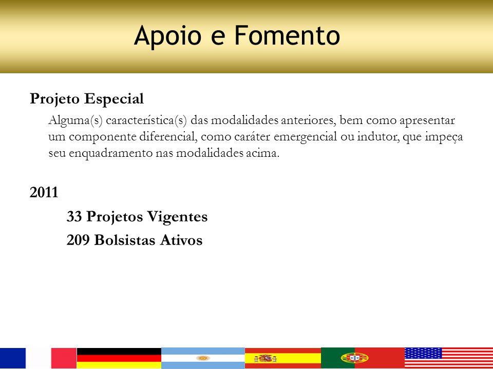 Apoio e Fomento Projeto Especial 2011 33 Projetos Vigentes