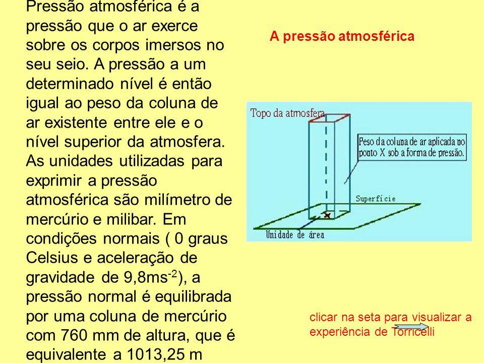 Pressão atmosférica é a pressão que o ar exerce sobre os corpos imersos no seu seio. A pressão a um determinado nível é então igual ao peso da coluna de ar existente entre ele e o nível superior da atmosfera. As unidades utilizadas para exprimir a pressão atmosférica são milímetro de mercúrio e milibar. Em condições normais ( 0 graus Celsius e aceleração de gravidade de 9,8ms-2), a pressão normal é equilibrada por uma coluna de mercúrio com 760 mm de altura, que é equivalente a 1013,25 m