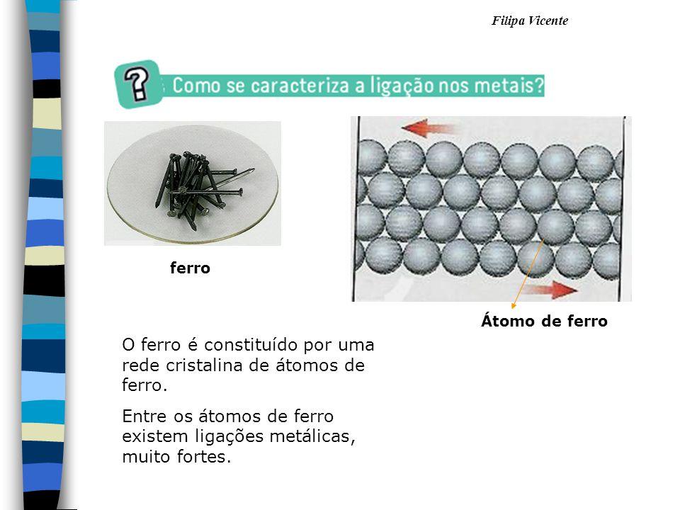 O ferro é constituído por uma rede cristalina de átomos de ferro.
