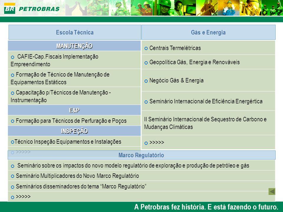Escola Técnica Gás e Energia. MANUTENÇÃO. CAFIE-Cap.Fiscais Implementação Empreendimento.