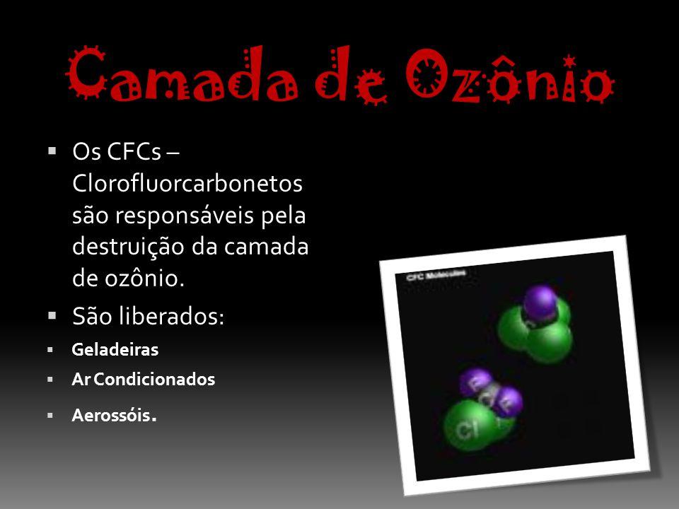 Camada de Ozônio Os CFCs – Clorofluorcarbonetos são responsáveis pela destruição da camada de ozônio.