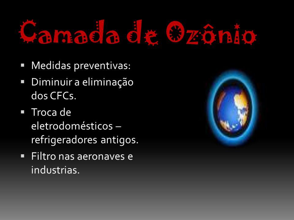 Camada de Ozônio Medidas preventivas: Diminuir a eliminação dos CFCs.