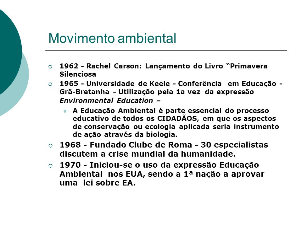 Movimento ambiental 1962 - Rachel Carson: Lançamento do Livro Primavera Silenciosa.