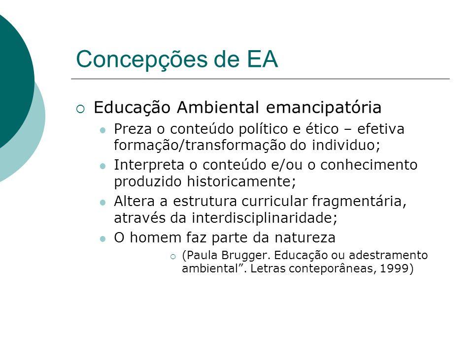 Concepções de EA Educação Ambiental emancipatória