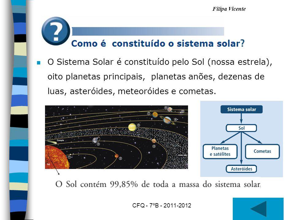 O Sistema Solar é constituído pelo Sol (nossa estrela), oito planetas principais, planetas anões, dezenas de luas, asteróides, meteoróides e cometas.