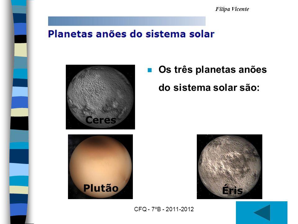 Os três planetas anões do sistema solar são: