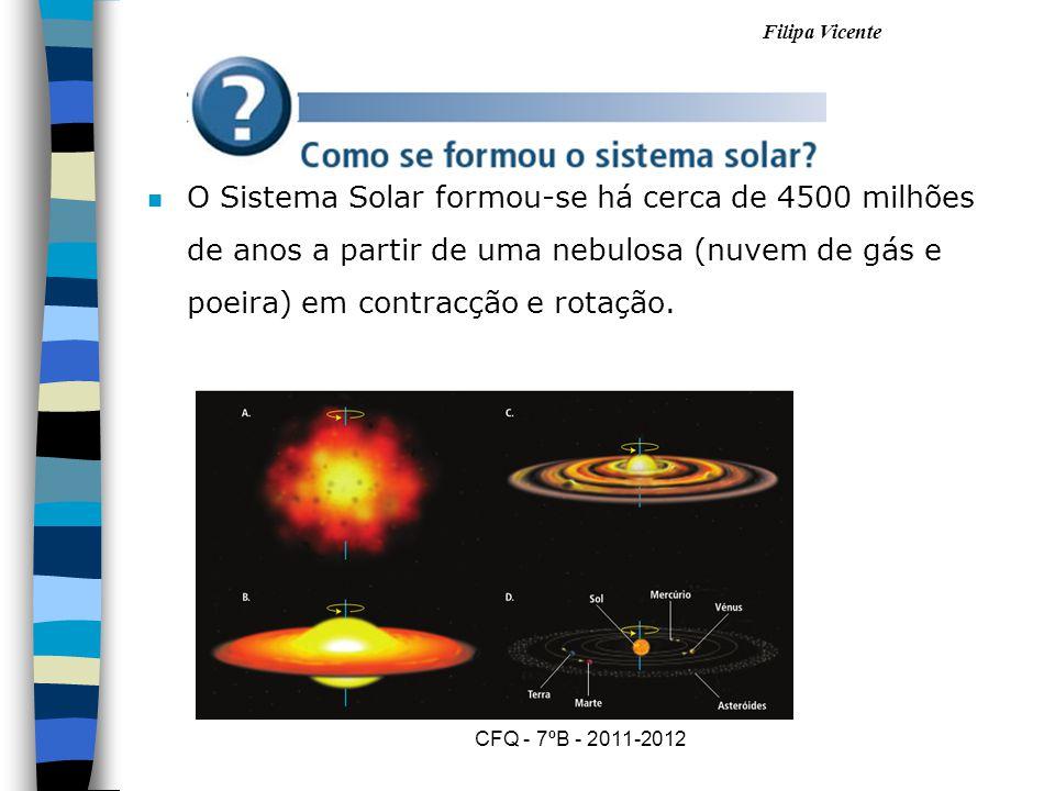 O Sistema Solar formou-se há cerca de 4500 milhões de anos a partir de uma nebulosa (nuvem de gás e poeira) em contracção e rotação.