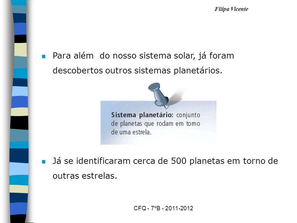 Já se identificaram cerca de 500 planetas em torno de outras estrelas.