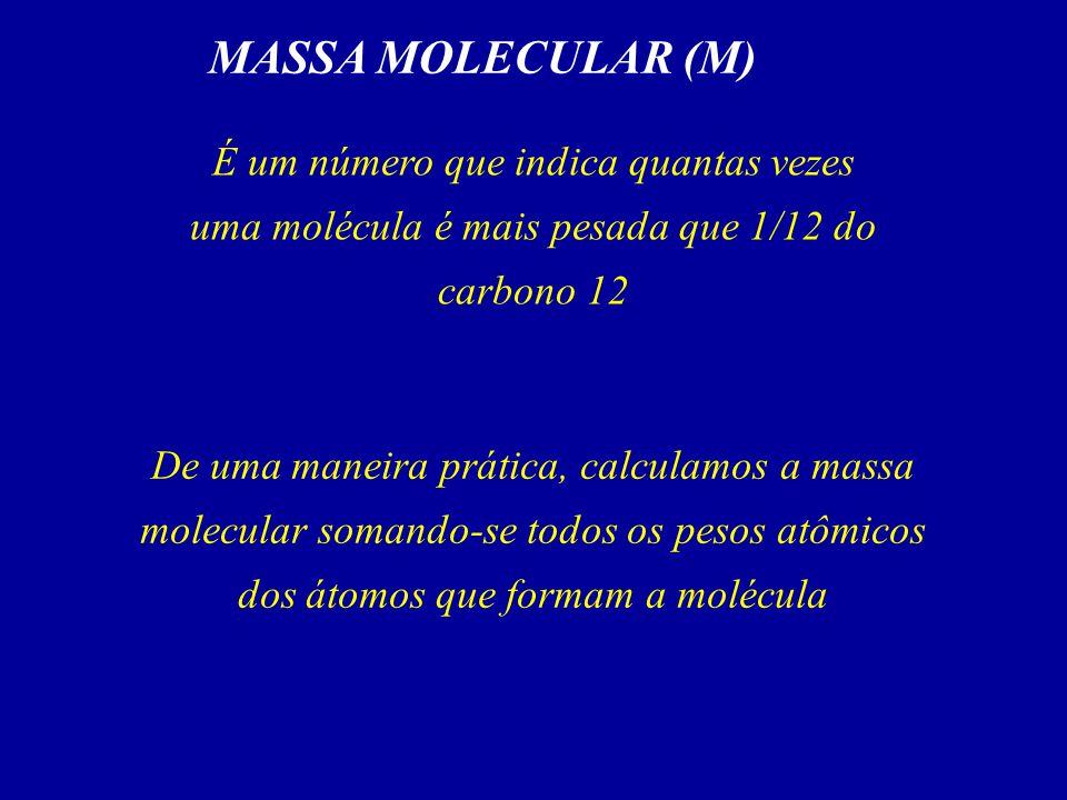 MASSA MOLECULAR (M) É um número que indica quantas vezes uma molécula é mais pesada que 1/12 do carbono 12.