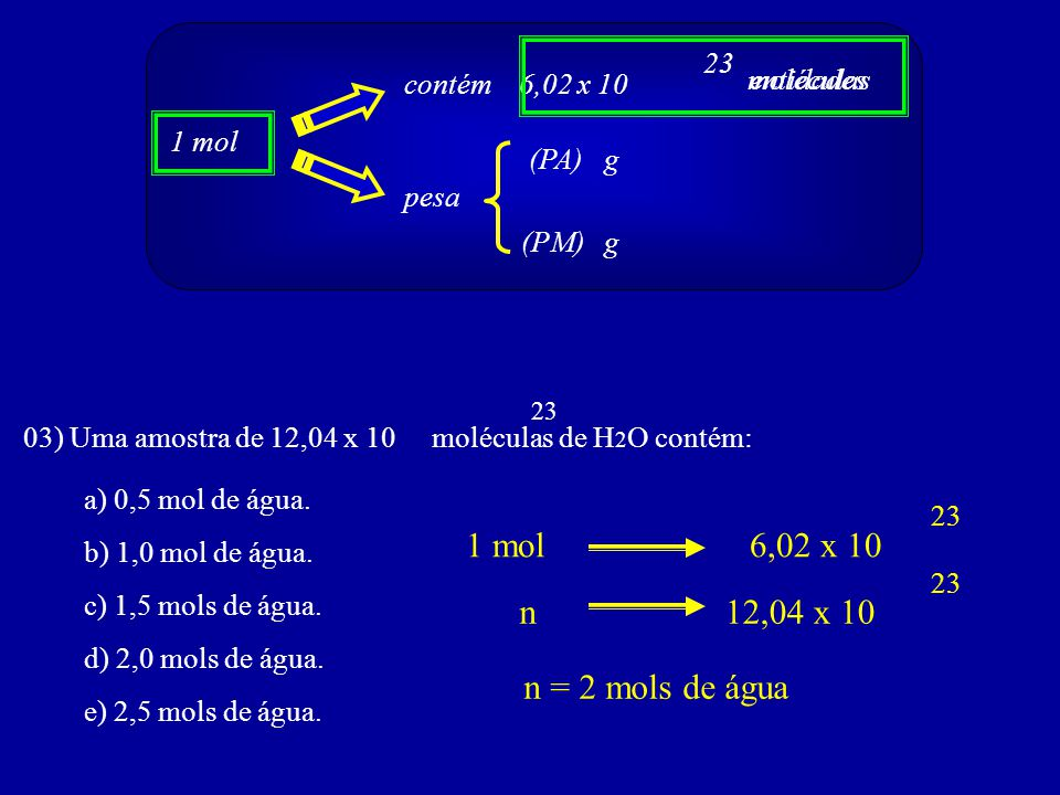 1 mol 6,02 x 10 n 12,04 x 10 n = 2 mols de água 23 contém 6,02 x 10