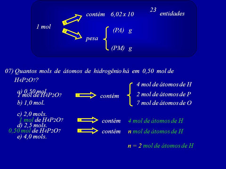 23 contém 6,02 x 10. entidades. 1 mol. (PA) g. pesa. (PM) g. 07) Quantos mols de átomos de hidrogênio há em 0,50 mol de.