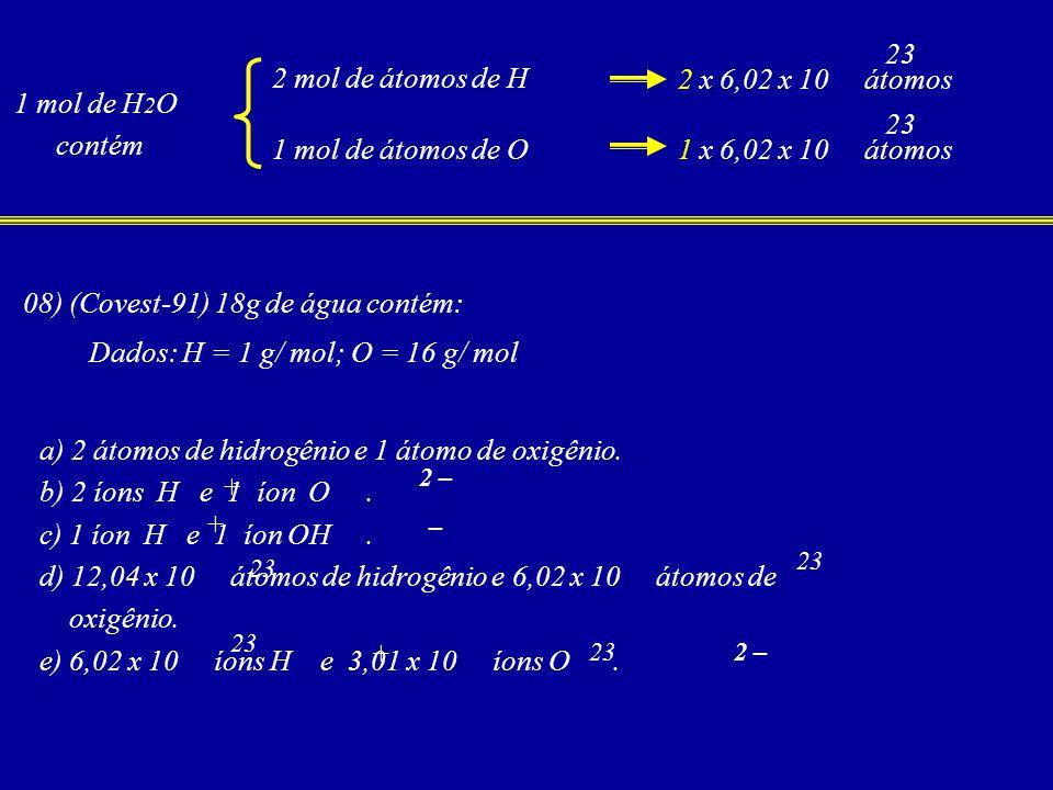08) (Covest-91) 18g de água contém: