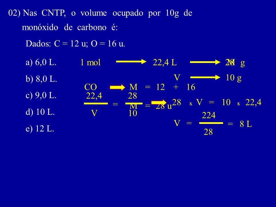 02) Nas CNTP, o volume ocupado por 10g de monóxido de carbono é: