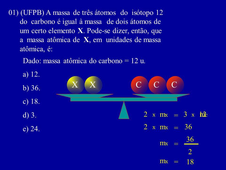 X X C C C 01) (UFPB) A massa de três átomos do isótopo 12