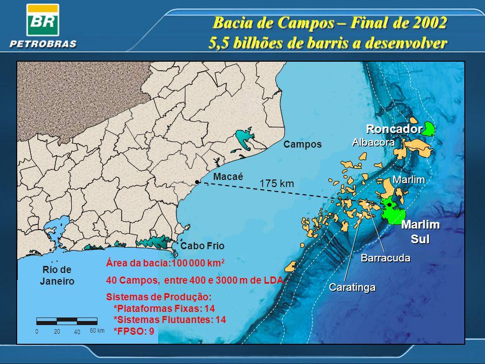Bacia de Campos – Final de 2002 5,5 bilhões de barris a desenvolver