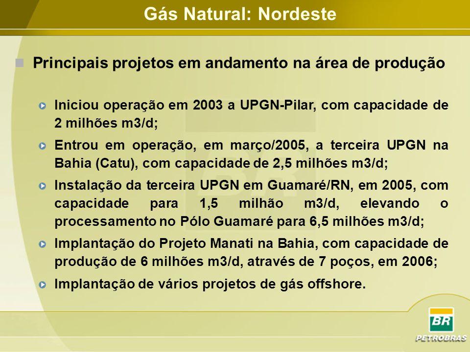 Gás Natural: Nordeste Principais projetos em andamento na área de produção.