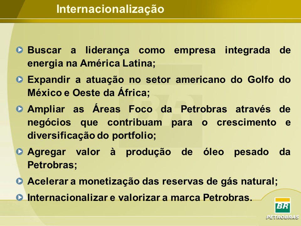 Internacionalização Buscar a liderança como empresa integrada de energia na América Latina;