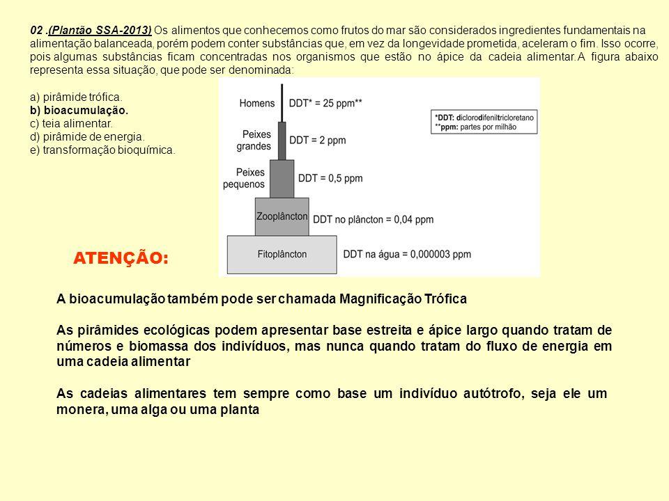 ATENÇÃO: A bioacumulação também pode ser chamada Magnificação Trófica