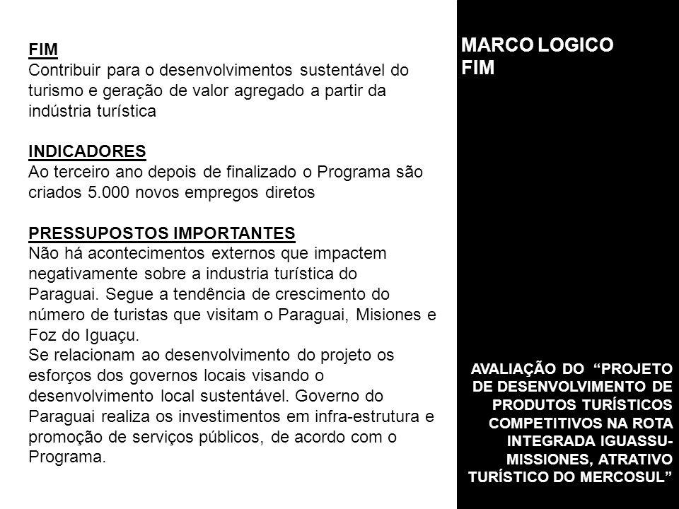 MARCO LOGICO FIM. FIM. Contribuir para o desenvolvimentos sustentável do turismo e geração de valor agregado a partir da indústria turística.