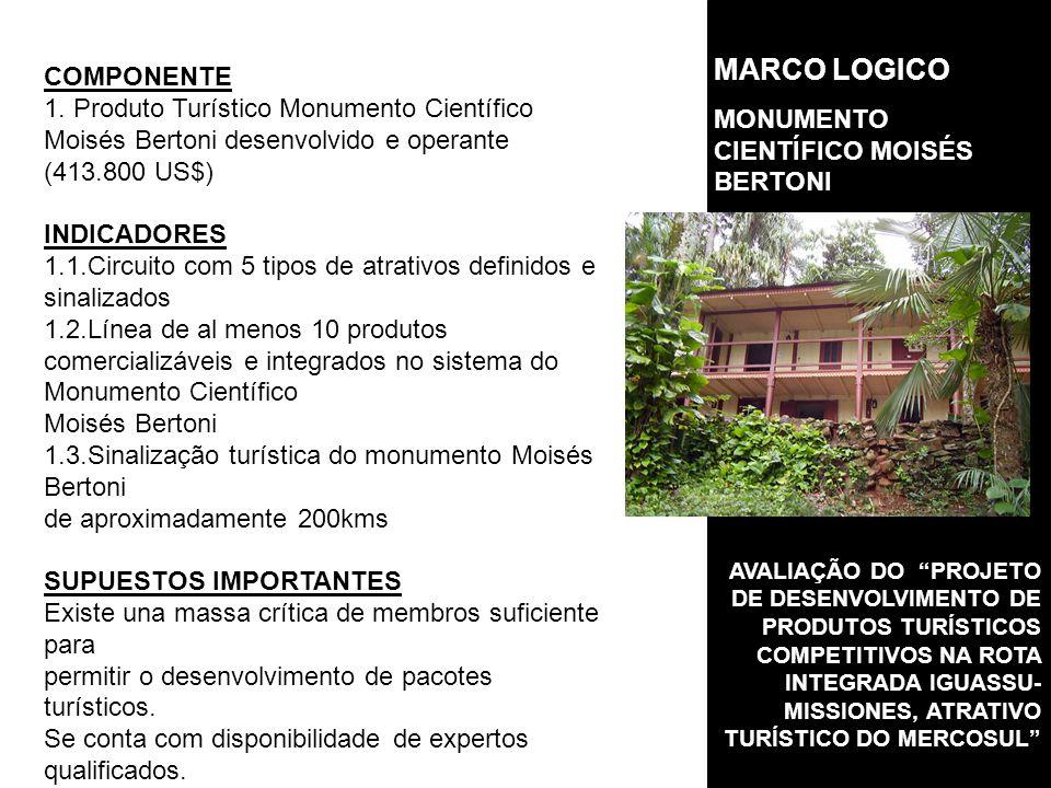 MARCO LOGICO COMPONENTE MONUMENTO CIENTÍFICO MOISÉS BERTONI