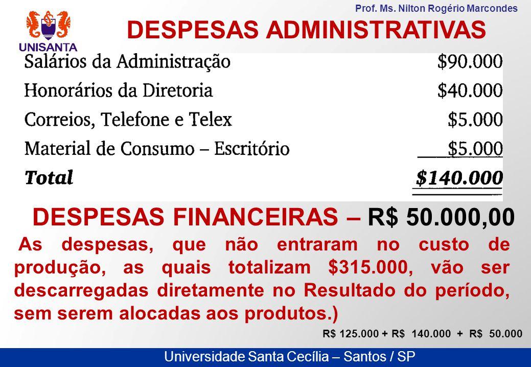 DESPESAS ADMINISTRATIVAS DESPESAS FINANCEIRAS – R$ 50.000,00