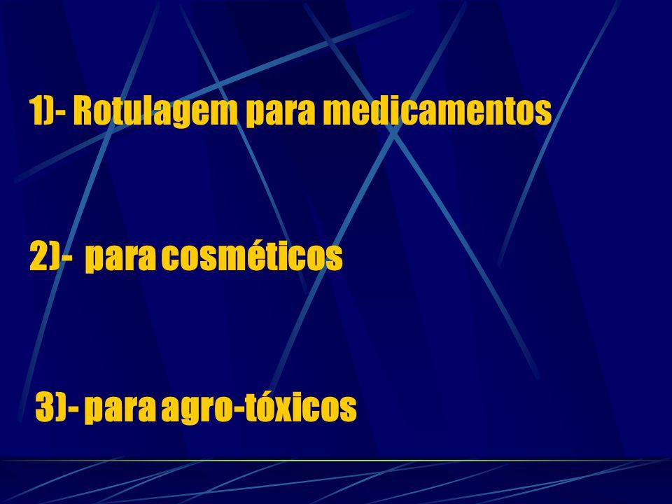 1)- Rotulagem para medicamentos