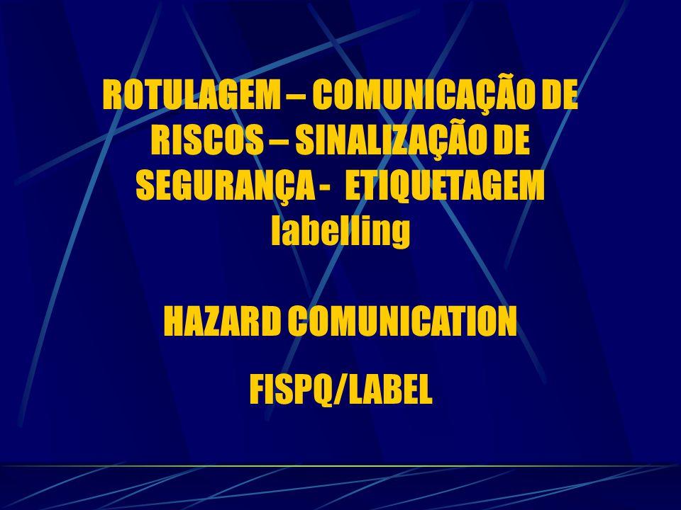 ROTULAGEM – COMUNICAÇÃO DE RISCOS – SINALIZAÇÃO DE